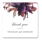 This is a purple wedding favor label by Lori Wemple called Shimmer with standard printing on uncoated sticker paper in sticker.