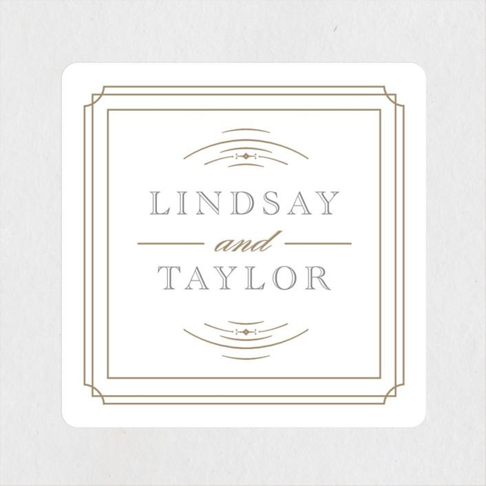 """Gilded Gala"" - Wedding Favor Stickers in Mist by Kristen Smith."