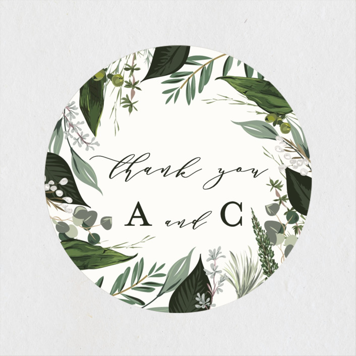 """""""Natures Greens"""" - Wedding Favor Stickers in Ivory by Susan Moyal."""