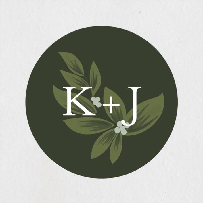 """Laurels Frame"" - Wedding Favor Stickers in Greenery by Itsy Belle Studio."