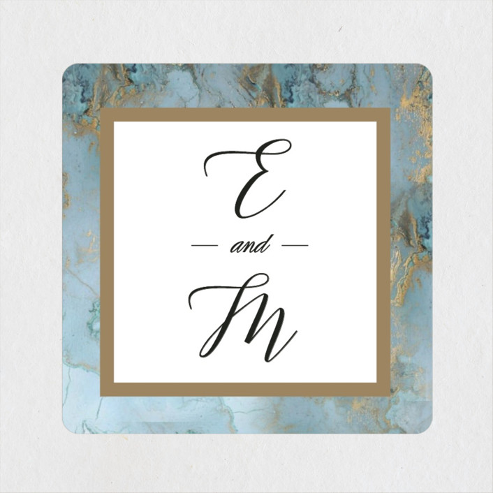 """Something Blue"" - Wedding Favor Stickers in Aqua by Benita Crandall."
