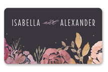 This is a grey wedding favor label by Bonjour Paper called Midnight Blooms with standard printing on uncoated sticker paper in sticker.