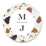 This is a white wedding favor label by Amy Payne called Terrazzo Frame with standard printing on uncoated sticker paper in sticker.