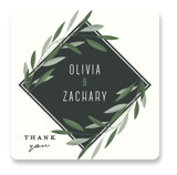 This is a green wedding favor label by Gwen Bedat called Oliviers with standard printing on uncoated sticker paper in sticker.