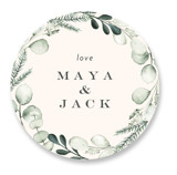 This is a green wedding favor label by Petra Kern called Gentle Greens with standard printing on uncoated sticker paper in sticker.