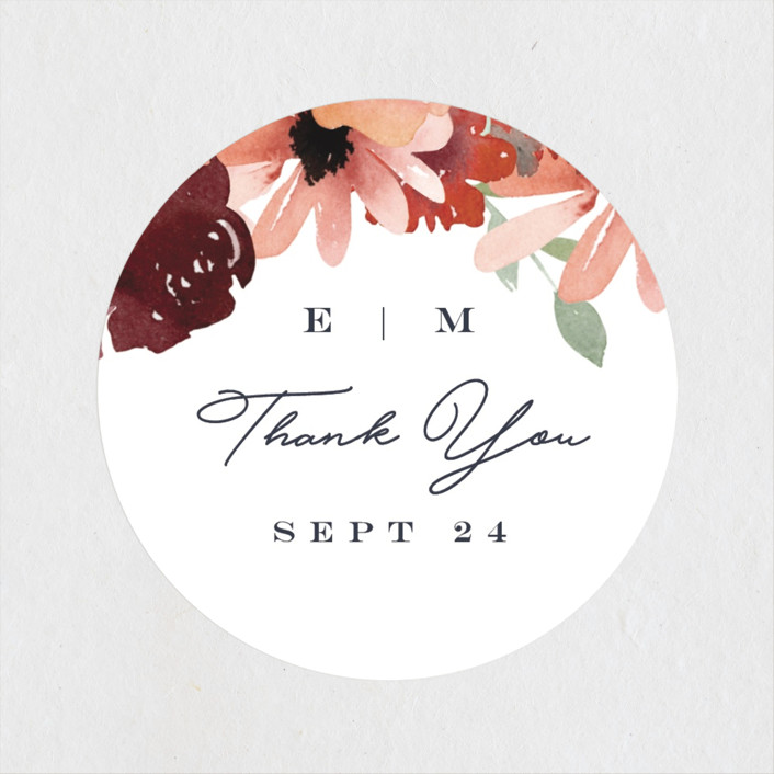 """""""Cascading Florals"""" - Wedding Favor Stickers in Rouge by Leah Bisch."""