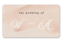 This is a white wedding favor label by Anna Elder called Romance with standard printing on uncoated sticker paper in sticker.