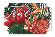 This is a green wedding favor label by Elly called Tropical Bouquet with standard printing on uncoated sticker paper in sticker.