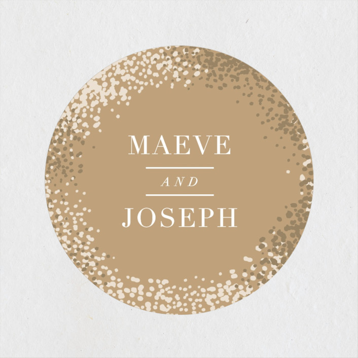 """""""Organic Dots"""" - Bohemian Wedding Favor Stickers in Champagne by lena barakat."""