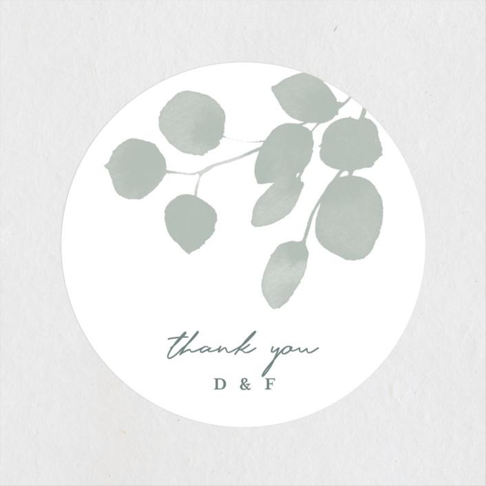 """Silver Dollar Eucalyptus"" - Wedding Favor Stickers in Silver Dollar by Four Wet Feet Studio."
