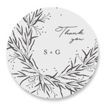 This is a black and white wedding favor label by Plain White Paper Co called A Sketched Wreath with standard printing on uncoated sticker paper in sticker.