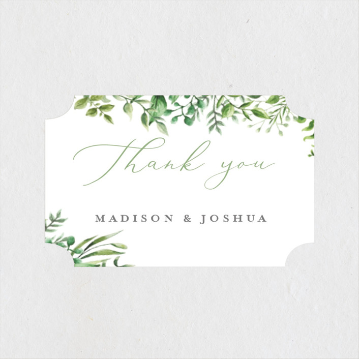 """Bright & Green"" - Wedding Favor Stickers in Sprig by Amanda Day."