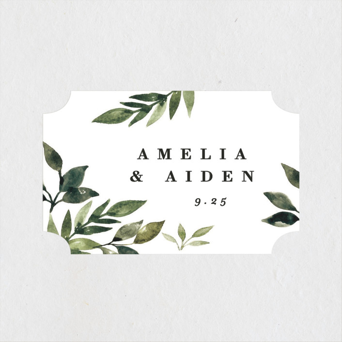 """""""Clearing"""" - Wedding Favor Stickers in Leaf by Alethea and Ruth."""