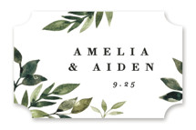 This is a green wedding favor label by Alethea and Ruth called Clearing with standard printing on uncoated sticker paper in sticker.