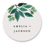 This is a green wedding favor label by Alethea and Ruth called Winter Bouquet with standard printing on uncoated sticker paper in sticker.