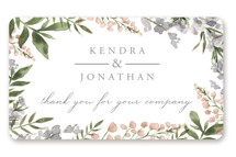 This is a green wedding favor label by Christie Elise called Spring Wildflowers with standard printing on uncoated sticker paper in sticker.