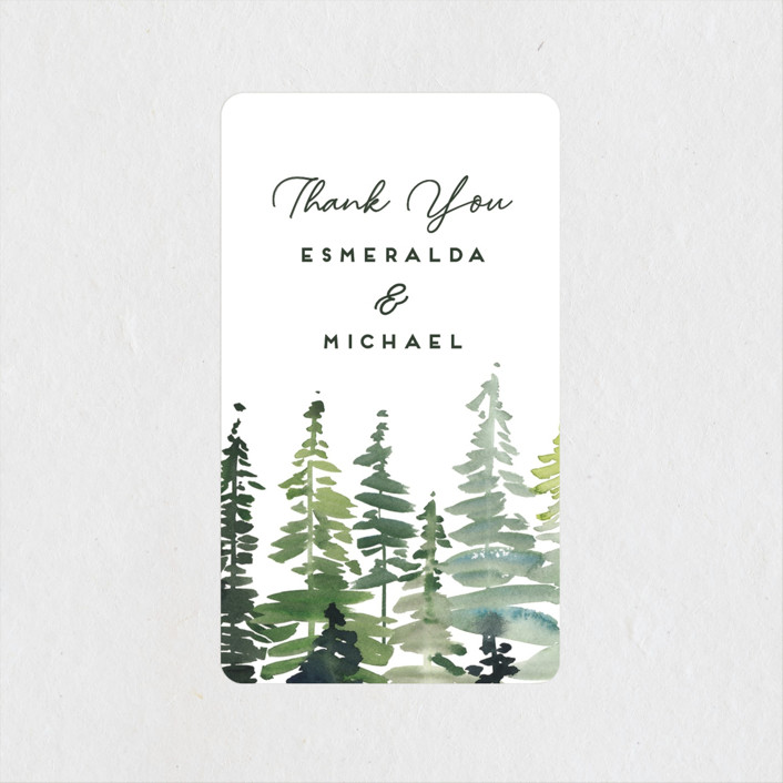 """""""Evergreens Watercolor"""" - Wedding Favor Stickers in Forest by Yao Cheng Design."""