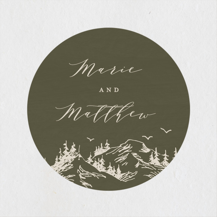 """""""into the mountains"""" - Rustic Wedding Favor Stickers in Olive by Halik Helen."""