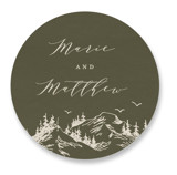 This is a green wedding favor label by Helen Halik called into the mountains with standard printing on uncoated sticker paper in sticker.