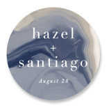 This is a blue wedding favor label by Hooray Creative called marble majesty with standard printing on uncoated sticker paper in sticker.