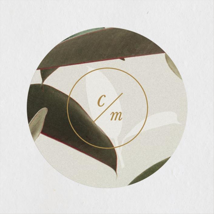 """Powder Room Florals"" - Wedding Favor Stickers in Cream by Ariel Rutland."