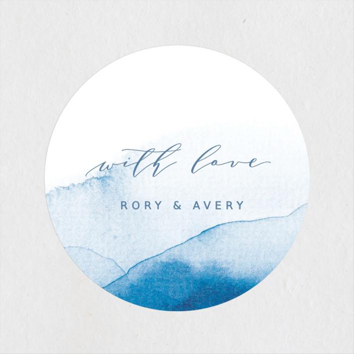 """""""Watercolor waves"""" - Wedding Favor Stickers in Ocean by Yuliya Evseeva."""