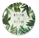 This is a green wedding favor label by Susan Moyal called Fresh Greens with standard printing on uncoated sticker paper in sticker.