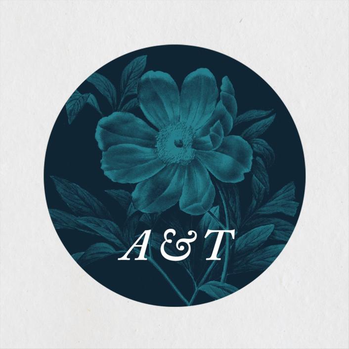 """Moonlit Garden"" - Wedding Favor Stickers in Twilight by GeekInk Design."