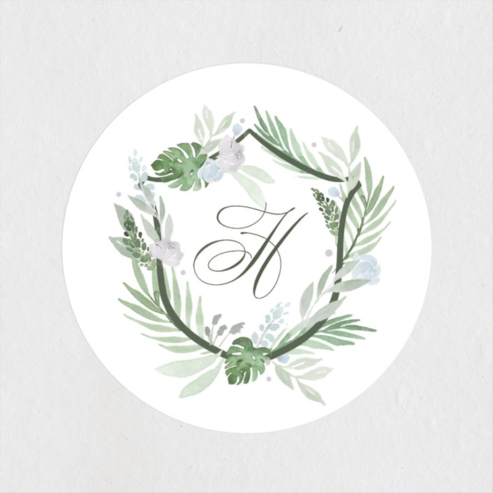 """""""Botanical Seal"""" - Wedding Favor Stickers in Pastel by Kristen Smith."""