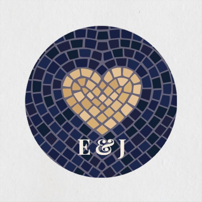 """""""Mosaic"""" - Wedding Favor Stickers in Navy by GeekInk Design."""