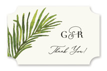 This is a green wedding favor label by Chris Griffith called Tropical Vows with standard printing on uncoated sticker paper in sticker.
