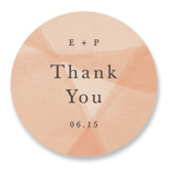 This is a orange wedding favor label by Amy Kross called Desert Wash with standard printing on uncoated sticker paper in sticker.