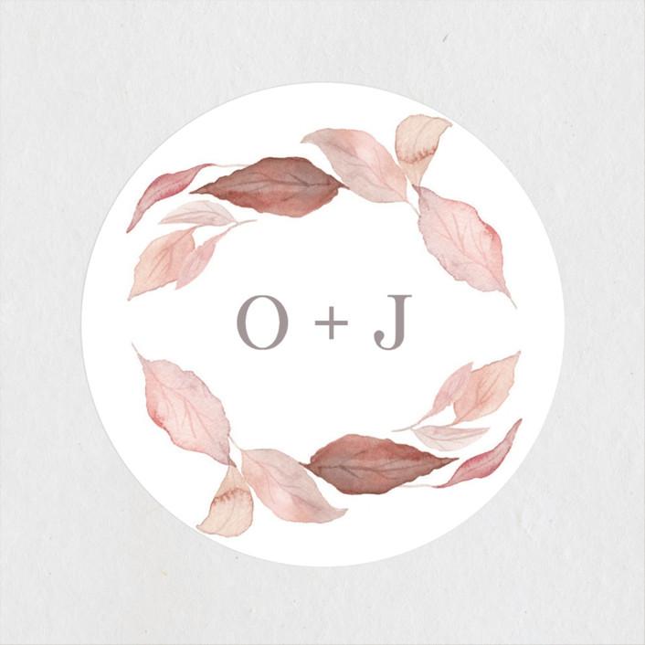 """Fallen"" - Wedding Favor Stickers in Rust by Creo Study."
