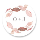 This is a brown wedding favor label by Creo Study called Fallen with standard printing on uncoated sticker paper in sticker.