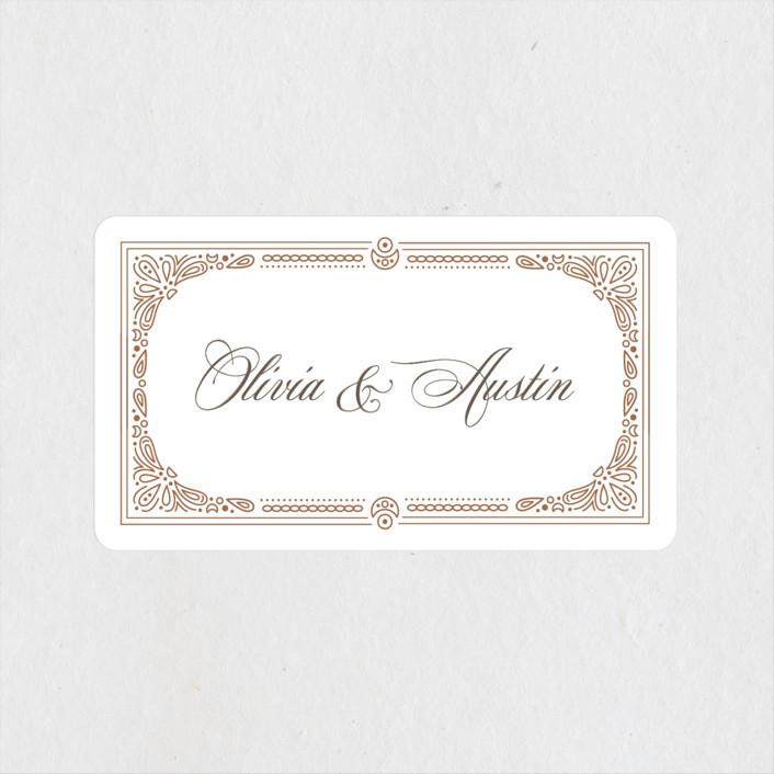 """Adorn"" - Vintage Wedding Favor Stickers in Chocolate by Kristen Smith."
