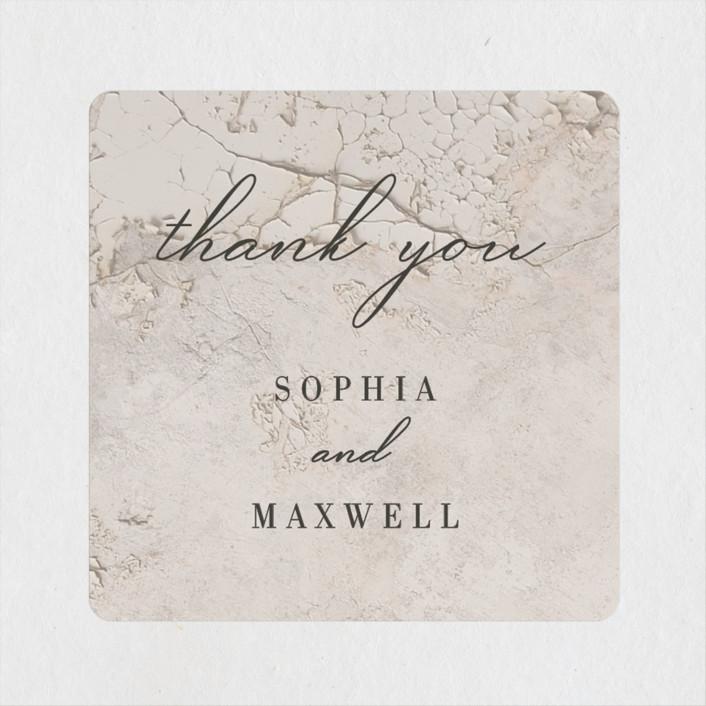 """Sophia"" - Modern Wedding Favor Stickers in Latte by Basil Design Studio."