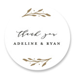 This is a black and white wedding favor label by Emily Betts called Simple Botanical with standard printing on uncoated sticker paper in sticker.