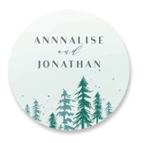 This is a blue wedding favor label by Karidy Walker called Frosted Forest with standard printing on uncoated sticker paper in sticker.