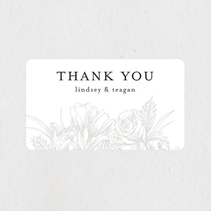 """""""Sketched Bouquet"""" - Wedding Favor Stickers in Ivory by Phrosne Ras."""