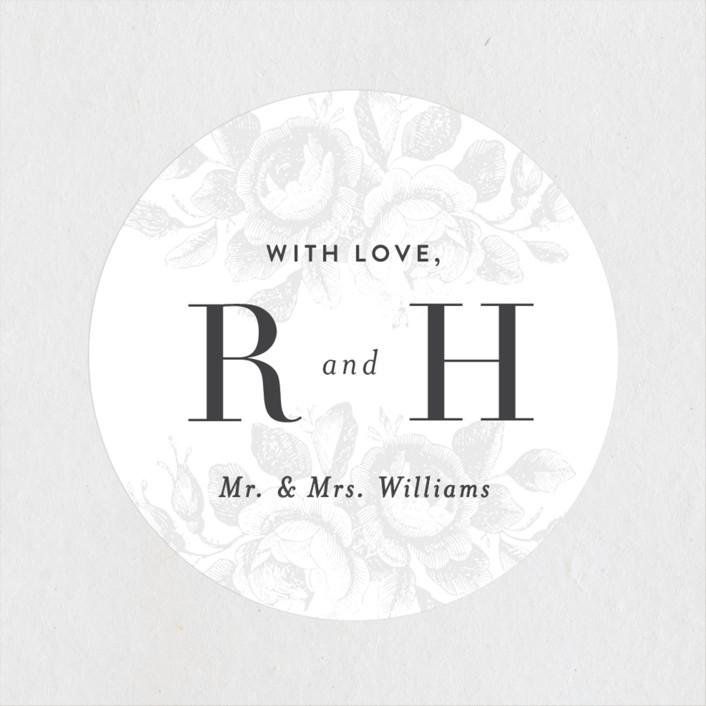 """Beloved"" - Wedding Favor Stickers in Graphite by Design Lotus."