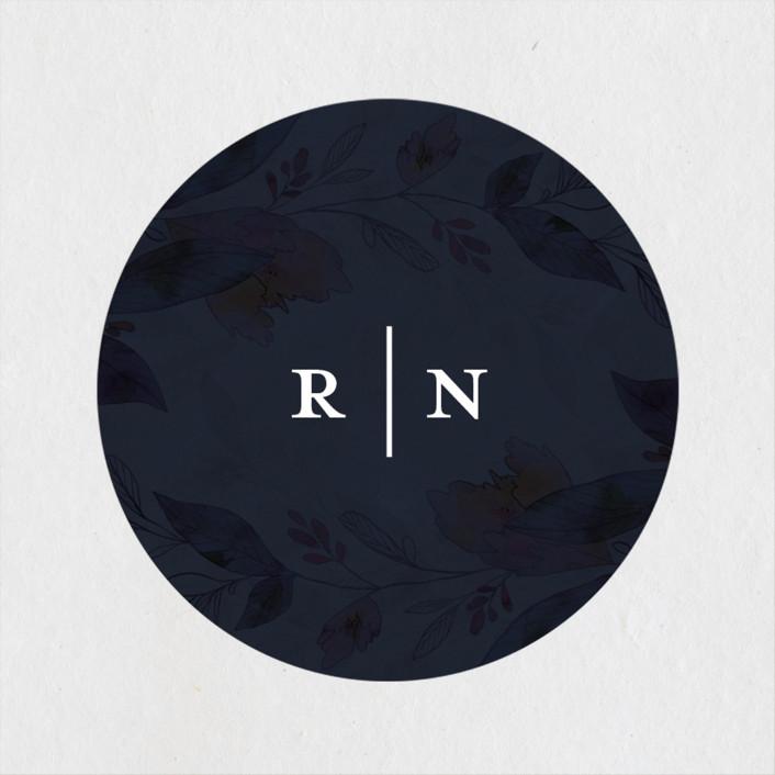 """""""Midnight Vines"""" - Wedding Favor Stickers in Navy by Grace Kreinbrink."""