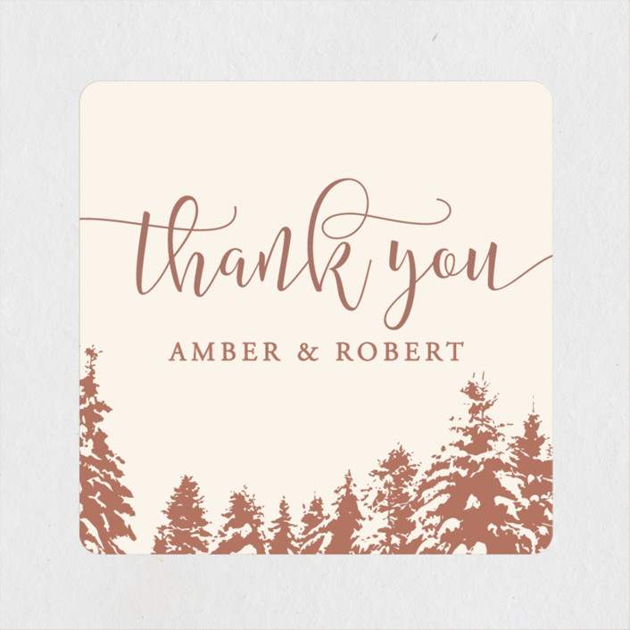 """Snowy Pines"" - Rustic Wedding Favor Stickers in Rose by Gratia Design Co.."