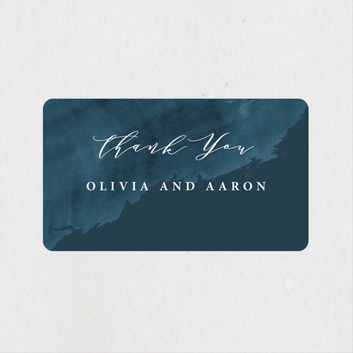 """Gilded Oceans"" - Wedding Favor Stickers in Ocean by Christie Garcia."