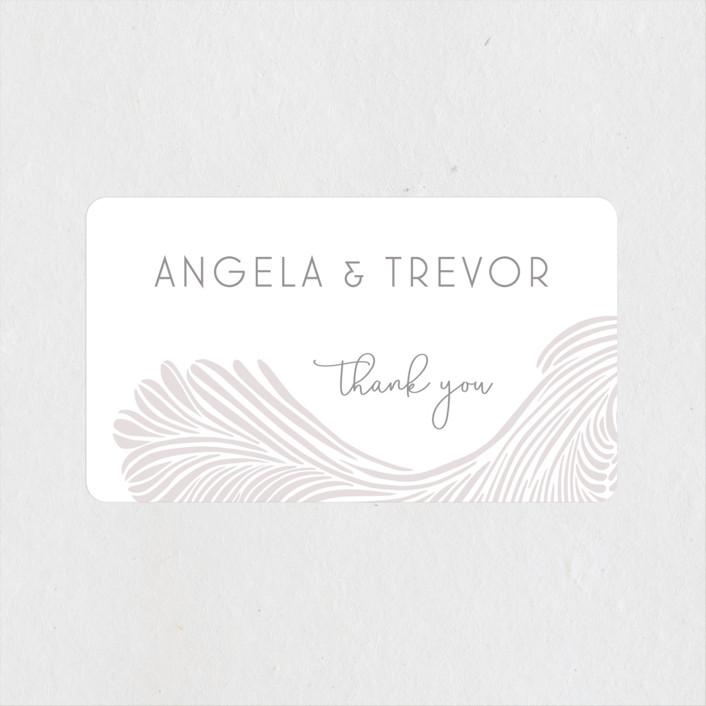 """Wailea Waves"" - Wedding Favor Stickers in Sea Shell by raven erebus."