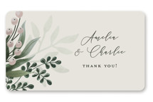 This is a grey wedding favor label by Chris Griffith called Wedding Whisper with standard printing on uncoated sticker paper in sticker.