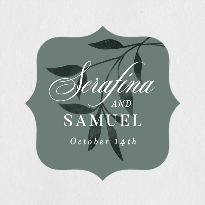 """""""Serafina"""" - Wedding Favor Stickers in Sage by Melanie Kosuge."""