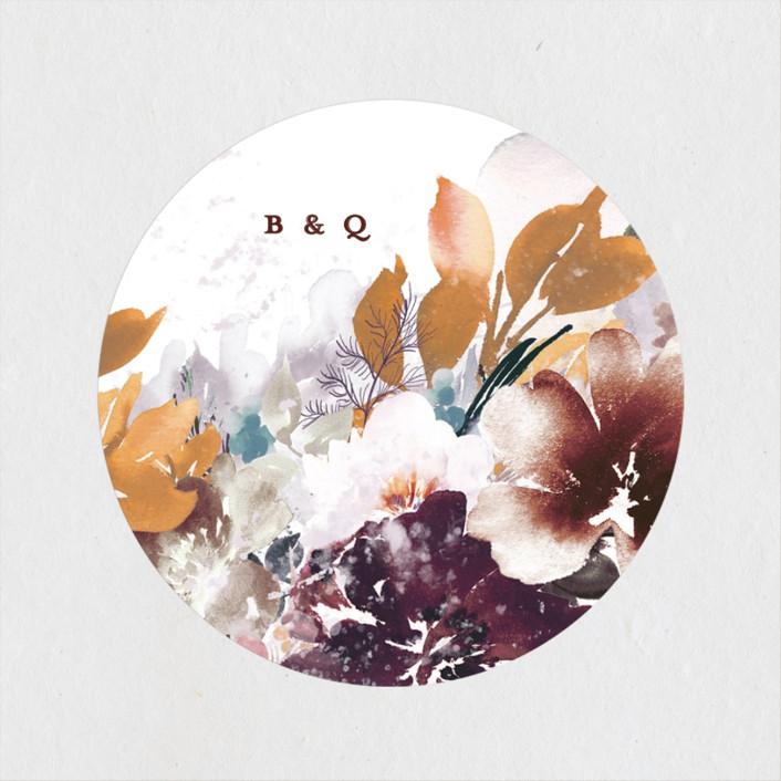 """Lush Bouquet"" - Wedding Favor Stickers in Autumn by Phrosne Ras."
