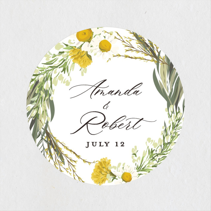 """""""Organic Florals"""" - Wedding Favor Stickers in Honey by Susan Moyal."""