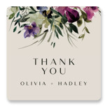This is a purple wedding favor label by Lori Wemple called Floral Love with standard printing on uncoated sticker paper in sticker.