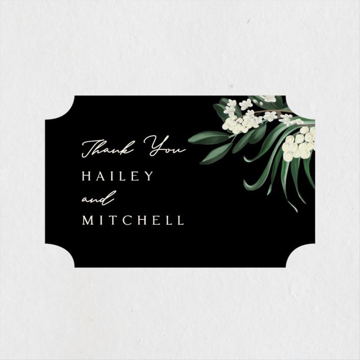 """Meander"" - Wedding Favor Stickers in Obsidian by Kaydi Bishop."